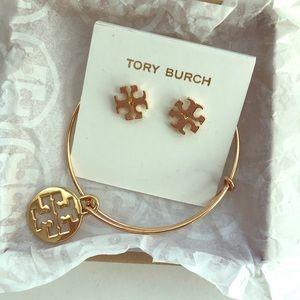 Tory Burch NWOT goldstone earrings & bracelet set